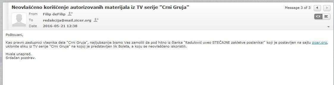 Mejl koji je poslao Saša Radulović
