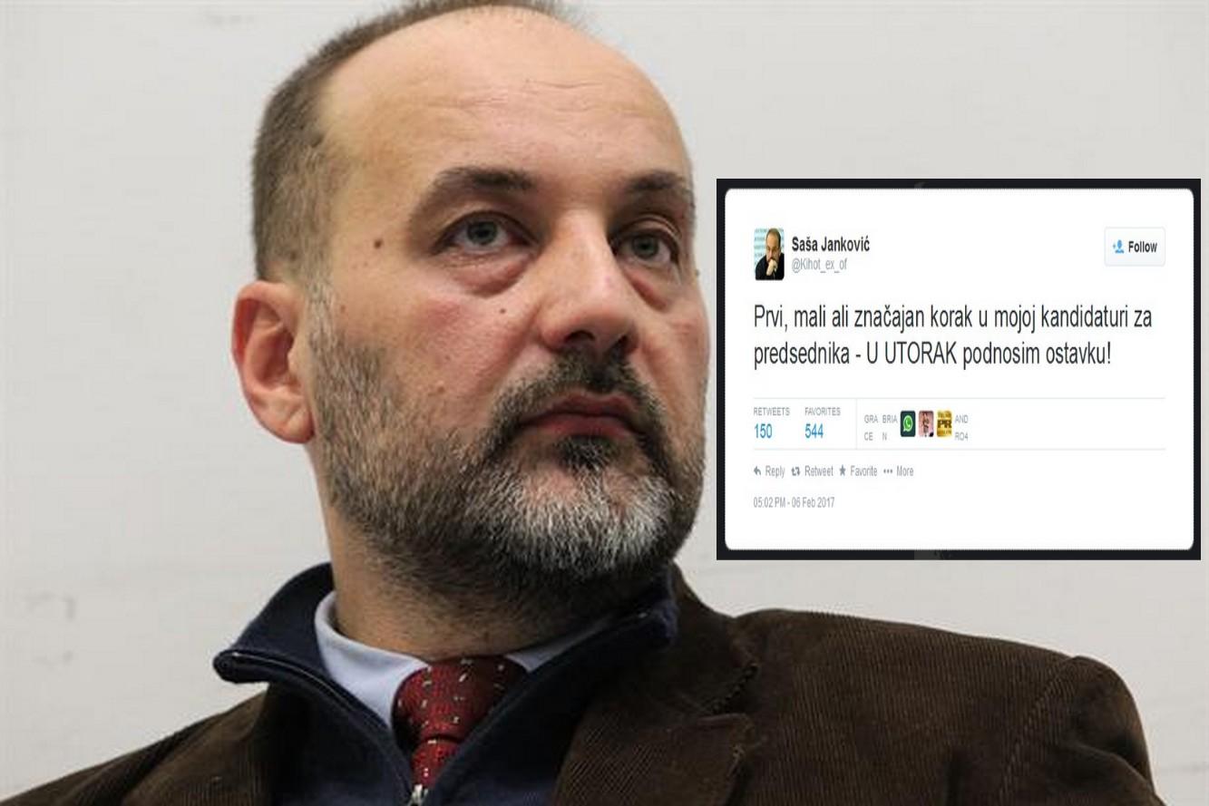 Saša Janković najavio ostavku u UTORAK!